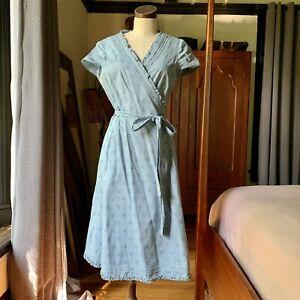 BODEN Blue Cotton Wrap POLKA DOT Spotty Dress 12L $170