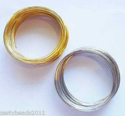 50 Coils of Memory Wire,  Silver or Gold, Select Colour & Size, Bracelet Making