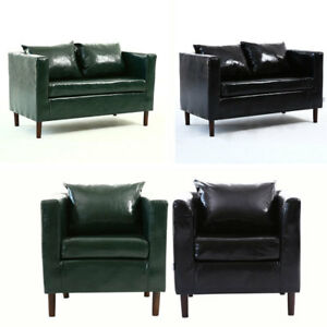 Green Black Faux Leather Sofa Chair Bed