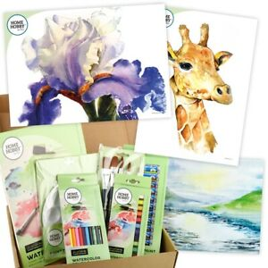 HOMEHOBBY-Par-3L-Aquarelle-Studio-Kit-Iris-Girafe-Art-Cadeau-Present-Ensemble