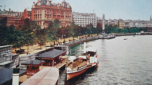 LONDON-Thames-River-EMbankment-1904-COLOR-Art-Nouveu-Era-Print