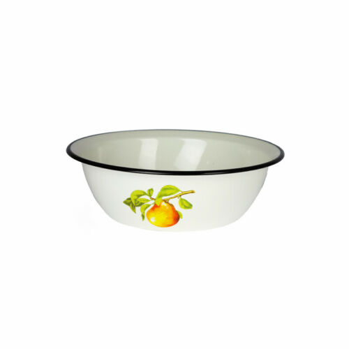 Enamel Coated Mixing Bowl 3,5L Cooking Storing Salad Sauce Catering White Pear