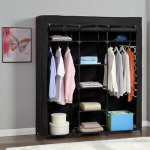 das bild wird geladen neu holz kleiderschrank 175x150 schwarz stoff falt schrank - Wohnzimmer Kleiderschrank