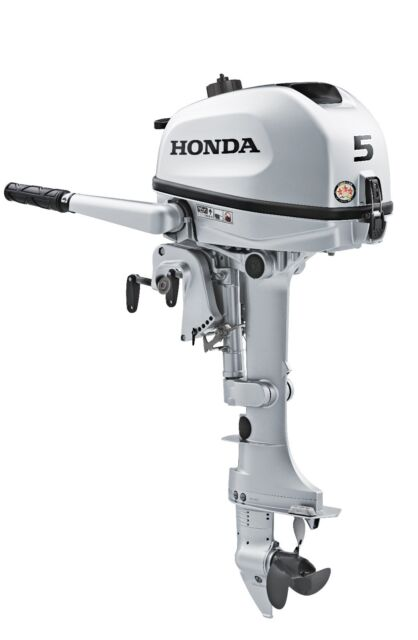 "New 5 hp Honda Outboard 15"", manual start, tiller, model BF5SHNA Free Shipping"