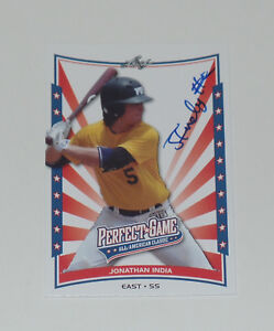 JONATHAN INDIA SIGNED AUTO 2014 LEAF PERFECT GAME ALL AMERICAN CLASSIC CARD REDS