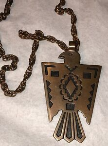 Vintage North American Indian Copper Thunderbird Necklace Signed Bell Solid Copper
