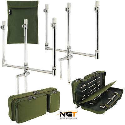 Carp Fishing Stainless 2x 2 Rod Adjustable Buzz Bars Banksticks /& Carry Case Set