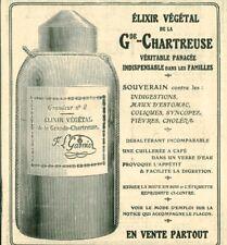 Publicité ancienne élixir végétal de la Gde Chartreuse issue de magazine 1908