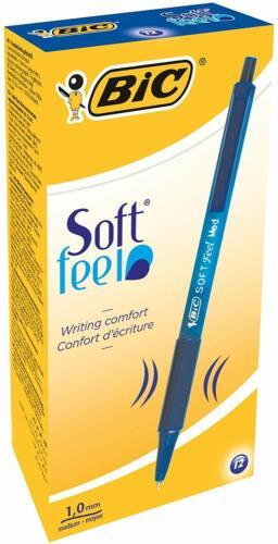 BIC Druckkugelschreiber Soft Feel Clic Grip  12 Kugelschreiber in Blau  Strich