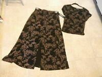 Briggs York Large Black/tan Flower Knit Skirt/top Made In Usa With Tags