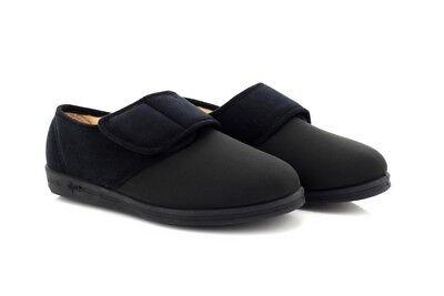 COMFYLUX Ladies Black Lycra Stretch Super Wide EEEE Adjustable Washable Slippers