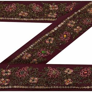Sewing Sanskriti Vintage Sari Border Indian Craft Dark Red Trim Hand Beaded Kundan Lace Fixing Prices According To Quality Of Products Linens & Textiles (pre-1930)
