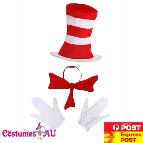 Deluxe Cat In The Hat Adults Costume Dr Seuss Bow Tie Gloves Set Mens Book Week