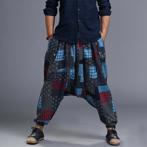 Men Ethnic Vintage Hip-hop Print Waist Long Baggy Harem Pants Trousers Punk