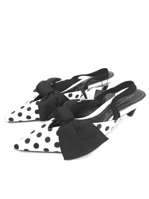 Zara a Pois con Fiocco Aperte Retro Tacco Medio Scarpe UK3 UK4 UK5 UK7 RIF. 3208 301