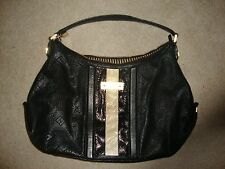 L.A.M.B. Lamb Gwen Stefani Black and Ivory Snakeskin Leather Hobo Handbag Purse