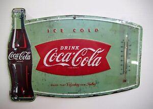 Coca-Cola-Fishtail-Thermometer-Sign-BRAND-NEW