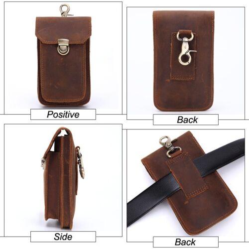 MIS Genuine Leather Vintage Waist Bag Men Travel Fanny Pack Belt Loops Hip Pouch