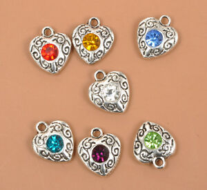 8 pcs Tibet silver Heart Double Side Charms 13x7mm DIY Jewellery Making crafts