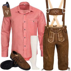 Trachten-Set-6tlg-Herren-Trachtenlederhose-mit-Traeger-Hemd-Schuhe-Socken-SK3R1