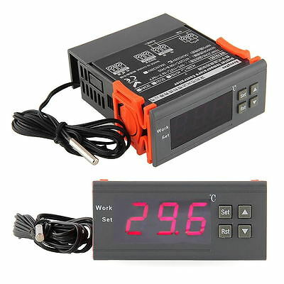 220V Digital LCD Display Temp Temperature Controller Thermostat Relay w/Sensor