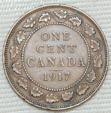 Large 100 Year Old ONE CENT Coin Canada 1917 - King George V