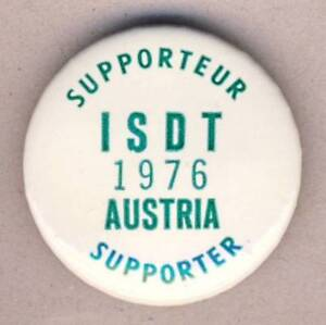 1976-FIM-Six-Days-ENDURO-Motorcycle-CANADA-Supporter-BUTTON-Pin-BADGE-ISDE-ISDT