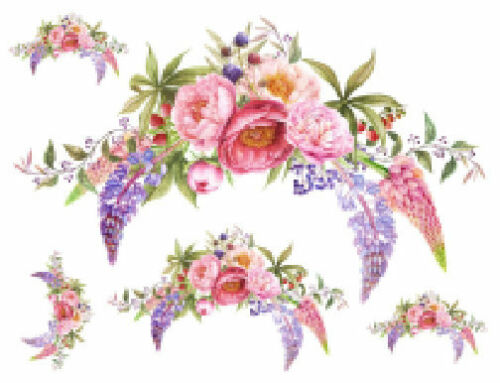 Shabby Pastel Watercolor Peony Floral Bouquet Transfers Waterslide Decals FL386