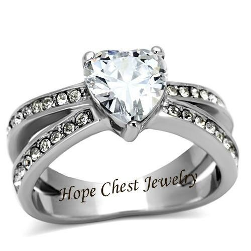 HCJ WOMEN/'S STAINLESS STEEL 3 PRONG HEART SHAPE CZ ENGAGEMENT RING SIZE 10