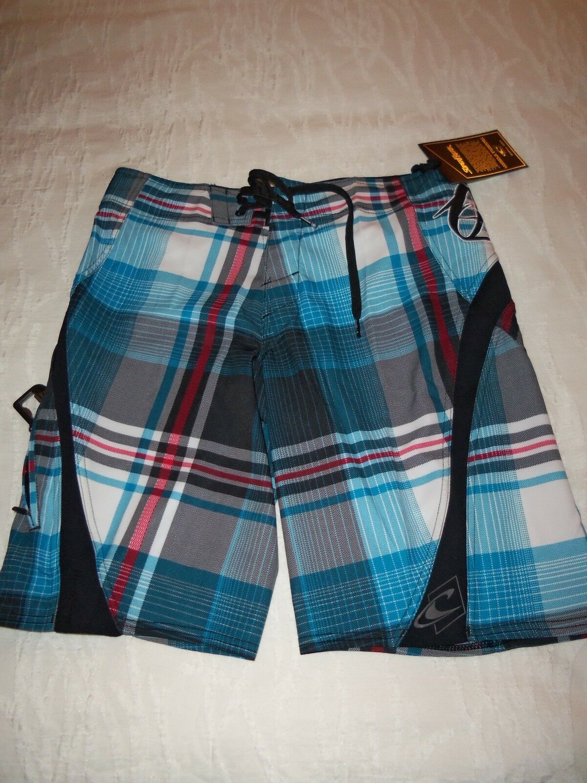O'NEILL  SUPER FREAK  SWIM SURF BOARD SHORTS PLAID MULTI-COLOR size 28