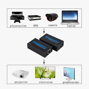 HDMI LAN Extender Over Single Cat-5E/Cat-6 RJ45 Up To 200Ft /60 Meter 1080P 3D H