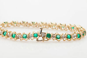 Vintage-4Ct-Emerald-amp-Diamond-14k-Yellow-Gold-Over-Silver-S-LINK-Tennis-Bracelet