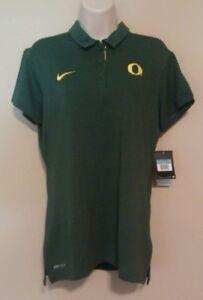 NWT Womens Medium Oregon Ducks Green Polo Dri-Fit Shirt Team Issued