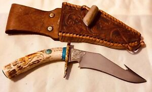 Details about VINTAGE Unique CUSTOM TURQUOISE STAG Silver HUNTING KNIFE  MOUNTAIN MAN BOWIE