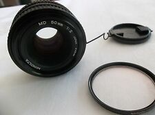 Vintage Minolta MD 50mm 1:2 49mm Japan Made SLR Camera Lens W/ Filter Nice Shape
