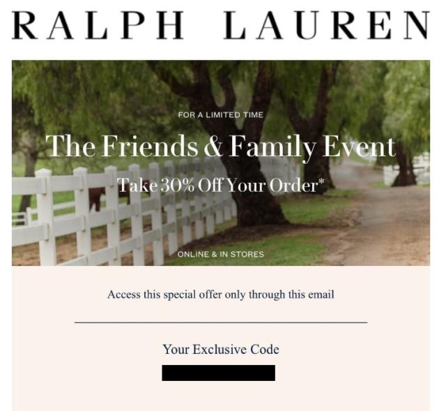 RALPH LAUREN 30% off coupon code (Valid through October 13, 2020)