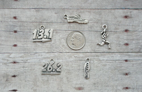 13.1 12pc or 5pc Marathon Running Charm Set Lot Collection // Shoe Water 26.2