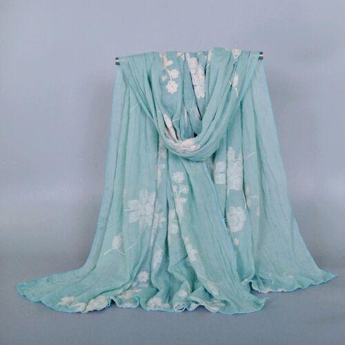 Women new design emboridey cotton shawls voile viscose plain fashion