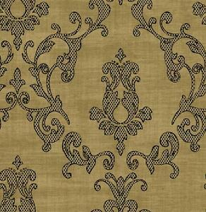Wallpaper-Designer-Large-Black-Dot-amp-Tan-Damask-on-Tan-Faux-Linen