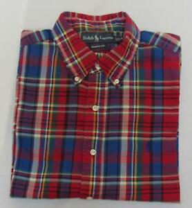 POLO-RALPH-LAUREN-Men-039-s-Red-Madras-Plaid-Flannel-L-s-Button-Down-Shirt-Size-XL