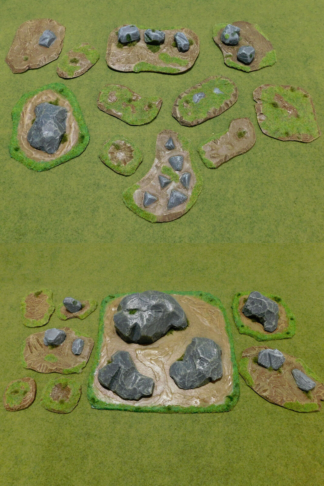 WAGAMING RPG TERRAIN Super Set - Mud and Boulders. Hand crafted