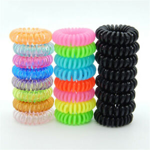 10 Pcs Plastic Hair Ties Spiral Hair Ties No Crease Coil Hair Tie Ponytail JR