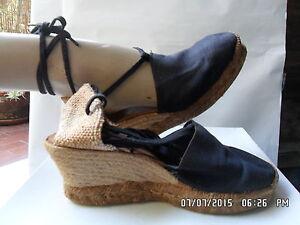 separation shoes 947cb c04a4 Dettagli su ESPADRILLAS LOUIS CASTANER donna ORIGINALI VINTAGE anni 80  zeppe n 39 nere