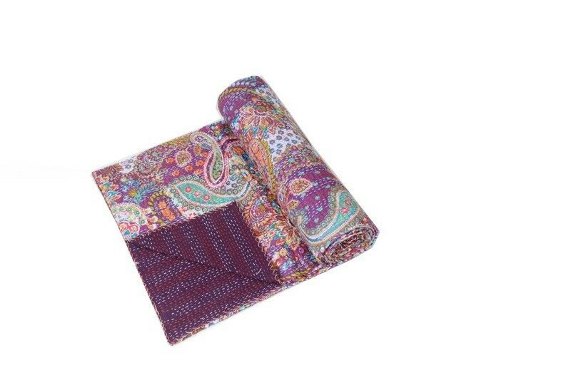 Capable Indian Kantha Quilt Handmade Single Cotton Bedding Bedspreads Throw Home & Garden Quilts, Bedspreads & Coverlets