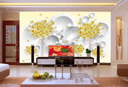 3D Golden Bouquets 77 Wall Paper Murals Wall Print Wall Wallpaper Mural AU Kyra