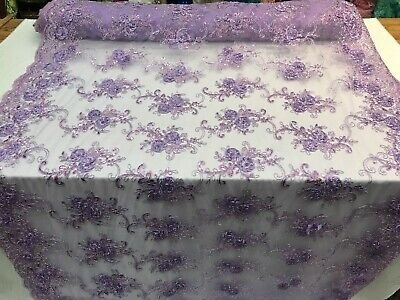 Lavender Floral Embroidered mesh lace Flower sequins,Tablecloths skirts by yard