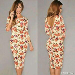 Women Ladies Cream Floral Print Half Sleeve Midi Dress Bodycon Celeb ... ca0162ee2