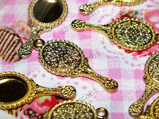 CandyCabsUK 5 Pcs Gold alloy Vanity Hand Mirror Barbie size charms craft DIY
