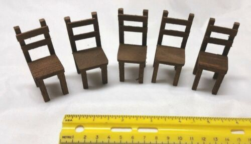 5 Wood Chairs Dollhouse Miniature Lot of