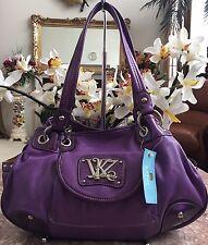 NWT Kathy Van Zeeland Purple Leather Satchel Tote Shoulder Bag Purse MRSP $89